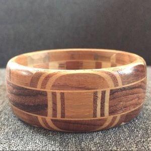 Boho Wooden Bangle Inlay Mixed Wood 🍂